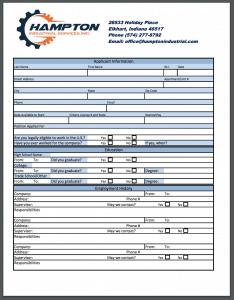 Employment Application for Hampton Industrial Inc.
